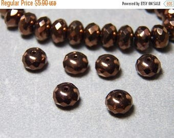 50% OFF Czech Metallic Bronze 9x5mm Faceted Glass Rondelle Beads (25)