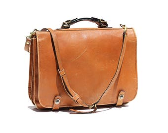 Vintage Butterscotch Sundae Tan Leather Briefcase Bag