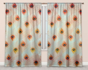 Peacock Feather Fabric Curtains Pastel Peach Green Zigzag Teal and Orange Colours, Light Boho Style Window Dressing Drapes