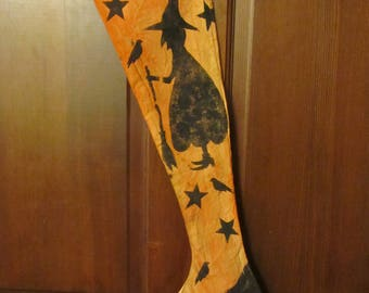 Primitive HC Hand painted Halloween Hanging Witch's Boot Stocking Ornie Tuck