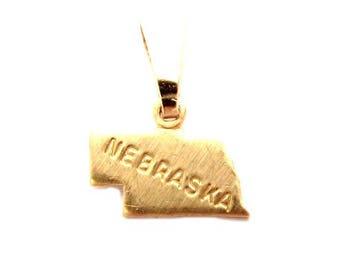 "Nebraska State Necklace.  Raw Brass.  18"" Gold Chain. Tiny."