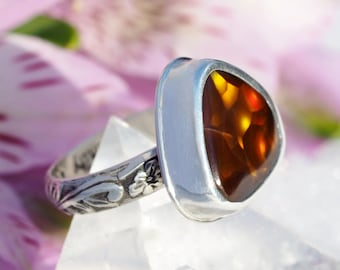 Fire Agate Ring - Sterling Silver Fire Agate ring - floral band ring - US size 6.25 - silver Fire Agate ring - chocolate brown ring - 6 1/4