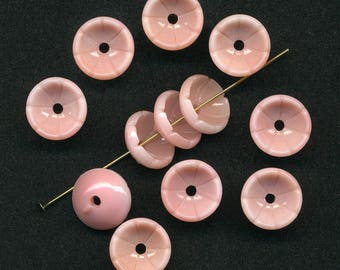 Vintage Pink Flower Beads 13mm Cupped Glass Center Hole 12 Pcs. Made in W G