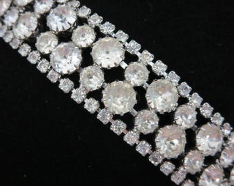 Weiss Rhinestone Bracelet - Vintage Clear Stones Bridal Wedding Costume Jewelry