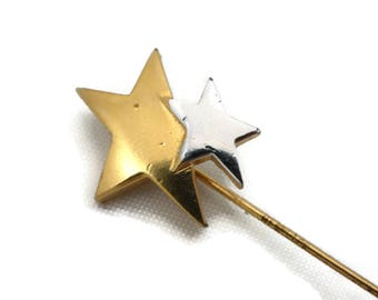 Trifari Jewelry - Gold and Silver Star Stick Pin Brooch Costume Jewelry