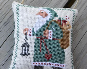 Christmas Ornament Santa in Green Coat with Lantern Ornament Cross Stitch Made To Order