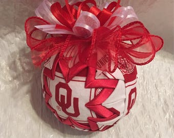 Oklahoma University Inspired Ornament - Sooners Ornament - Quilted Christmas Ornament