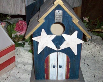 Adorable distressed red/white/blue Decorative Birdhouse