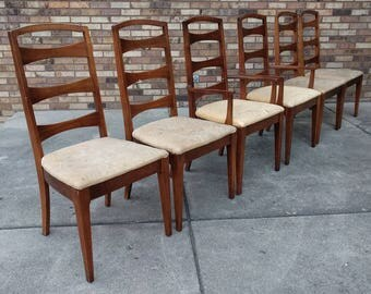 6 mid century modern ladder back walnut dining chairs