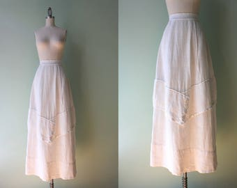 Antique Skirt / Vintage 1910s White Linen Skirt / World War One Era Antique Skirt S small