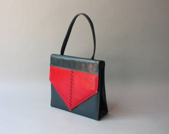 1950s Purse / Vintage 50s Navy and Red Leather Handbag / 1950s Leather bag
