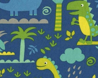 Dinosaur Scenic Blue Flannel Timeless Treasures fabric 1 yard