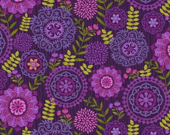 Medallions Eggplant Enchanted Forest Studio E Fabric