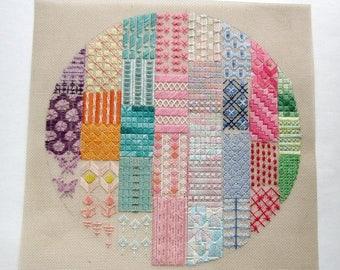 ON SALE- vintage cross stitch needlepoint sampler circle pastel colors - not framed