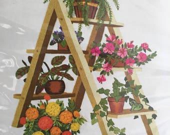 Vintage 1977 Plant Ladder crewel kit floral feen jungalow boho needlework