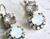 Swarovski Crystal Opal Earrings, Opal Earrings, Double Drop Earrings, Bridesmaid Earrings, Bridal Earrings