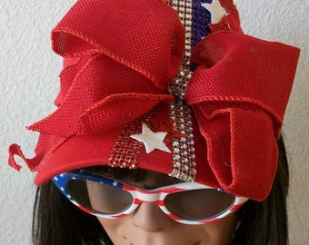 Patriotic 4th of July Baseball Cap, Red, White and Blue Rhinestone bands on a Red Cap  Stars Red Ribbon