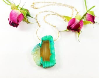 Aqua Agate raw-edge cut stone floating on 14k gold-filled sterling ring necklace