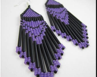 Native American Style Beadwork Dangle Seed Bead Earrings Purple and Black with Long Bugle Beads