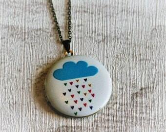 Blue Rain Cloud Locket, Cloud Necklace, Rain Jewelry, Blue Cloud Locket, Illustration Jewellery