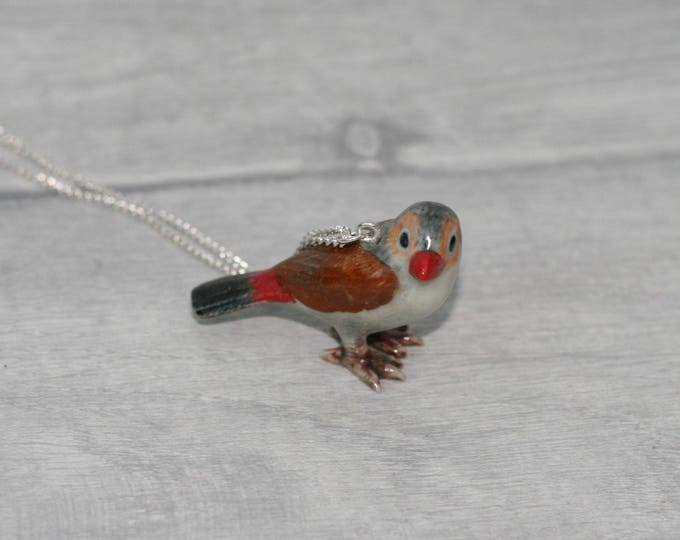 Porcelain Bird Necklace, Waxbill Finch Necklace, Animal Necklace