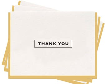Letterpress 'Thank You Box' Folded Greeting Cards - Set of 6
