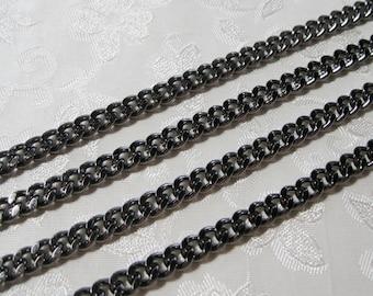 Gunmetal Silver Heavy Plated Flat Twist Cut Curb Chain 7mm x 5mm 356