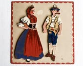 Vintage Hand Painted Folk Art Wood Figures, Traditional Costumes Of Switzerland, Wall Art