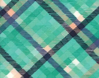 Midnight Garden Fabric // Teal Tartan Plaid Quilting Fabric  // 1canoe2 // cotton quilting