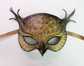 Horned Owl Leather Mask wearable art costume masquerade Mardi Gras very lightweight and easy to wear