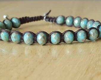 Turquoise bracelet, womens beaded bracelet, charm bracelet, boho jewelry, adjustable bracelet, mothers day gift mom gifts from daughter