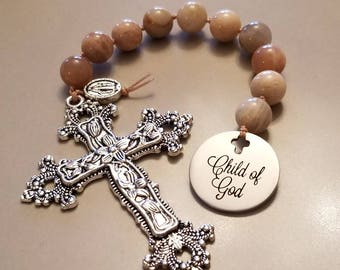 Baptism gift girl, small rosary, christening gift, one decade rosary, mini rosary, child of god, baby girl gift, gift from godmother, prayer