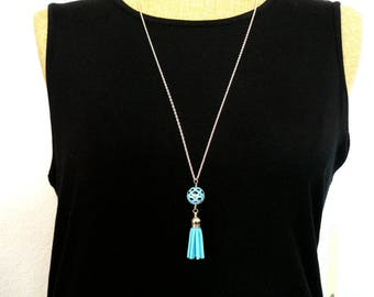 Aqua Tassel Necklace, Turquoise Filigree Bead Pendant, Long Pendant Necklace, Summer Jewelry, Faux Suede Tassel