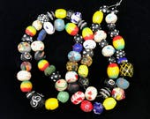 65 Vintage African Trade Beads - Multicolored Lot with Dots Swirls Stripes
