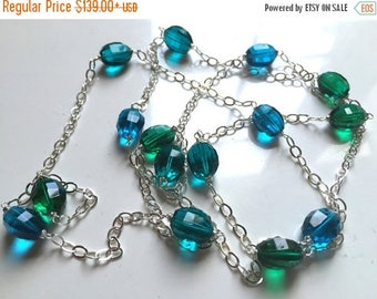 XMAS IN JULY 20% off, Stepping Up Step Cut Quartz Necklace, Blues and Green, 38- 42""