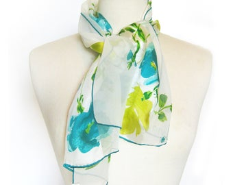 1960s Vintage VERA Neumann Floral Scarf / Ladybug Logo / Blues and Chartreuse  / Long Sheer Scarf / Vera Sheer / Rolled Hem Japan