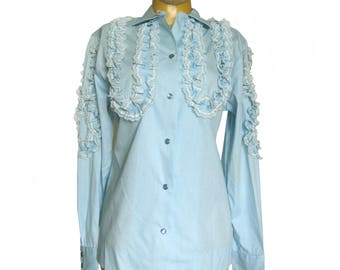 H Bar C Vintage Blouse / Light Blue Western Shirt / Ruffles & Lace / Rockabilly Blouse / Pearl Snap Shirt / Women's Western Wear / NOS / 34B
