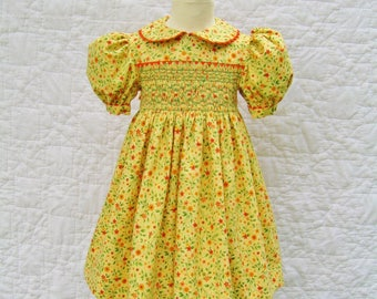 Girls hand smocked yellow dress, Size 2T, Fall flowers, Ready to ship, Autumn dress,  Party dress, Thanksgiving, Classic, Toddler dress