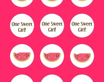 Watermelon Stickers, One Sweet Girl Labels,  DIY Printable File, INSTANT DOWNLOAD