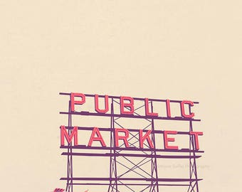 Seattle photography, Pike Place Public Market photograph, downtown Seattle Washington, red neon sign, fish market, travel print, neutral