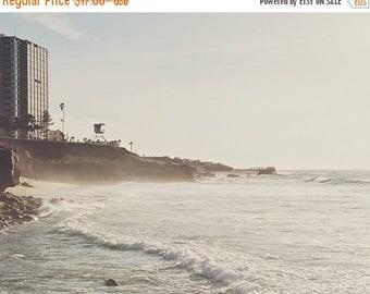 SALE photography, La Jolla photo, landscape photograph, lifeguard tower, San Diego travel, neutral beach print, waves, vacation, La Jolla co