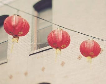 SALE red chinese lanterns photo, San Francisco Chinatown print, photography, paper lanterns, asian decor, beige three, modern decor, Califor