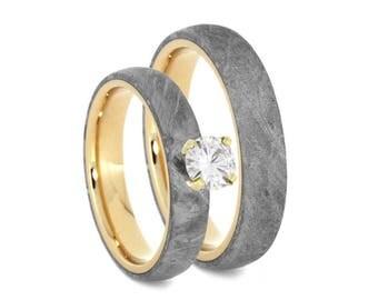 Meteorite Wedding Ring Set, Diamond Engagement Ring With Matching Men's Wedding Band in 14k Yellow Gold