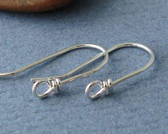 Front Face Loop Ear Wires, Sterling Silver Wild West, Handmade Earring Findings - Made in USA