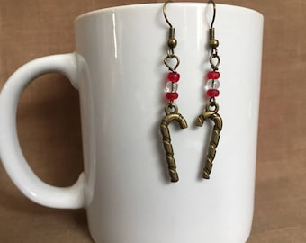 Candy Canes... Extreme Decaf Earrings .. FREE U.S. SHIPPING