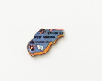 1961 West Virginia Brooch - Pin / Unique Wearable History Gift Idea / Upcycled Vintage Wood Jewelry / Timeless Gift Under 25