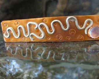 Small Copper and Rose Quartz Barrette