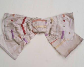Large silk bow pin