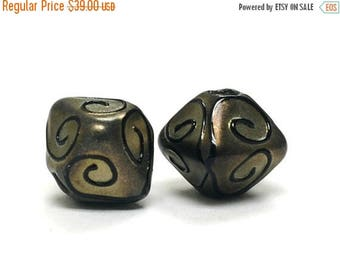 ON SALE 35% OFF Glass Lampwork Bead Sets  - Five Golden Pearl Surface w/Black Swirl Bicone Beads 11204807