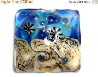 ON SALE 35% OFF Transparent Blue Seashell Pillow Focal Bead - Handmade Glass Lampwork Bead 11815904